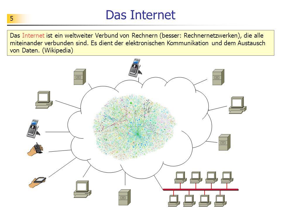5 Das Internet Das Internet ist ein weltweiter Verbund von Rechnern (besser: Rechnernetzwerken), die alle miteinander verbunden sind. Es dient der ele