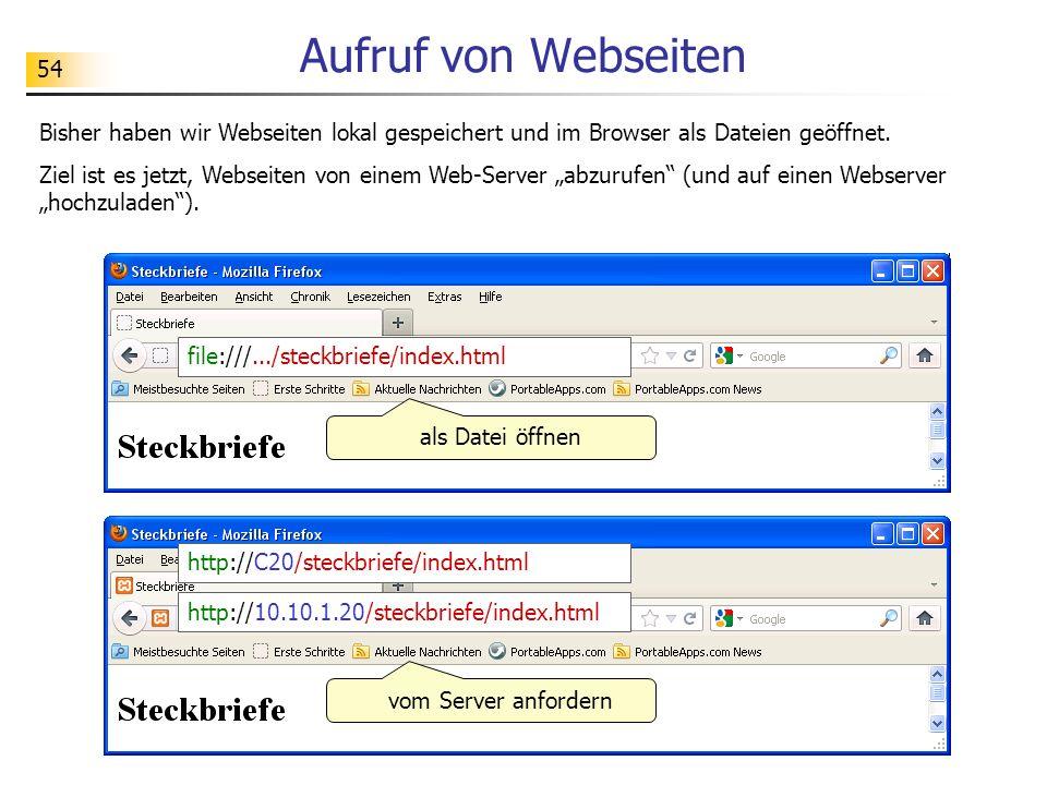 54 Aufruf von Webseiten Bisher haben wir Webseiten lokal gespeichert und im Browser als Dateien geöffnet. Ziel ist es jetzt, Webseiten von einem Web-S