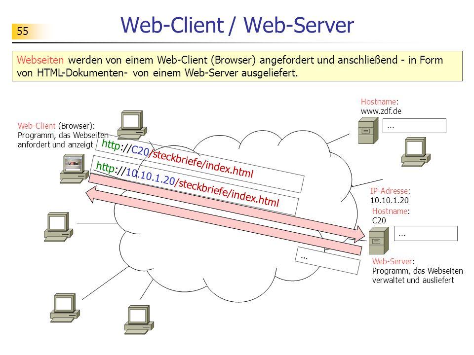 55 Web-Client / Web-Server Webseiten werden von einem Web-Client (Browser) angefordert und anschließend - in Form von HTML-Dokumenten- von einem Web-Server ausgeliefert.