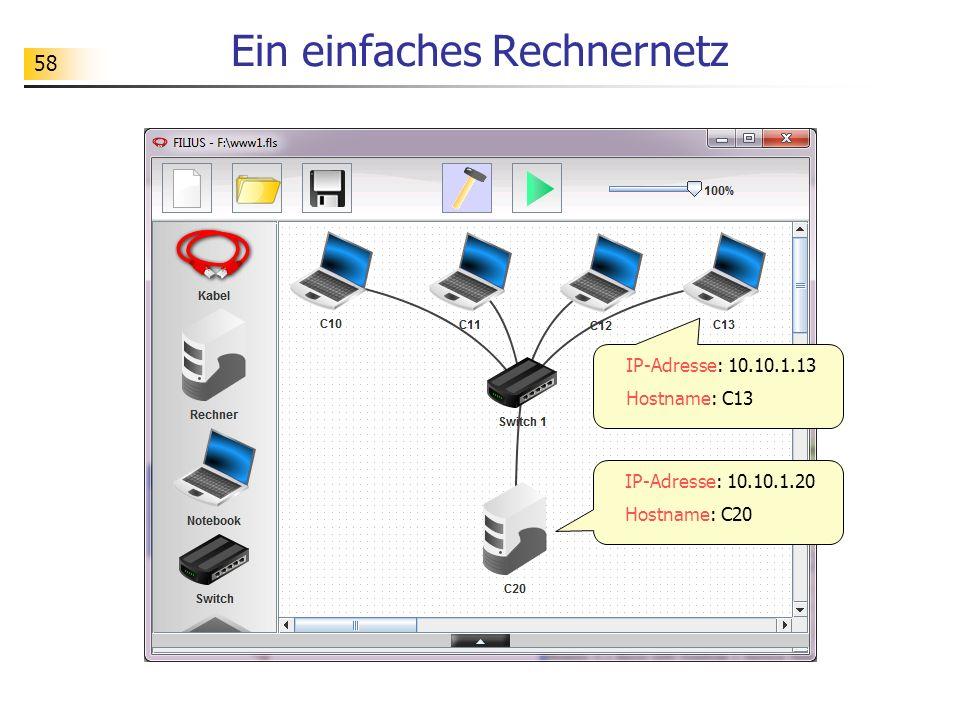 58 Ein einfaches Rechnernetz IP-Adresse: 10.10.1.20 Hostname: C20 IP-Adresse: 10.10.1.13 Hostname: C13