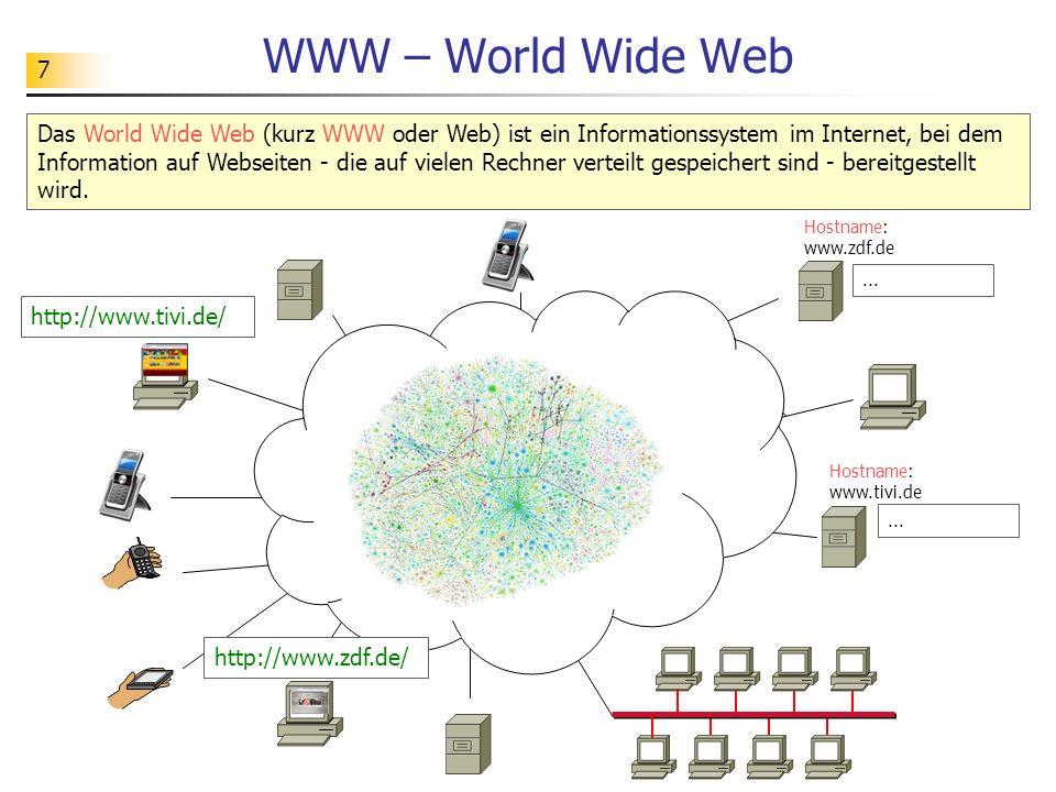 7 WWW – World Wide Web Das World Wide Web (kurz WWW oder Web) ist ein Informationssystem im Internet, bei dem Information auf Webseiten - die auf vielen Rechner verteilt gespeichert sind - bereitgestellt wird.