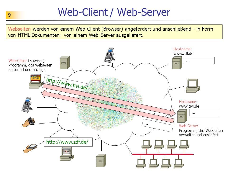 9 Web-Client / Web-Server Webseiten werden von einem Web-Client (Browser) angefordert und anschließend - in Form von HTML-Dokumenten- von einem Web-Server ausgeliefert.