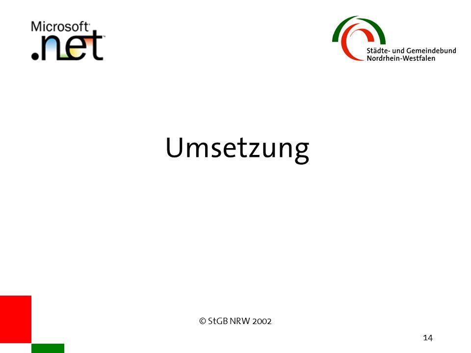 © StGB NRW 2002 14 Umsetzung