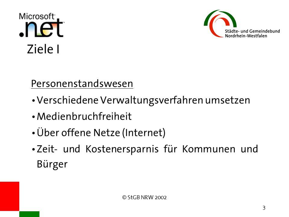 © StGB NRW 2002 3 Ziele I Personenstandswesen Verschiedene Verwaltungsverfahren umsetzen Medienbruchfreiheit Über offene Netze (Internet) Zeit- und Kostenersparnis für Kommunen und Bürger