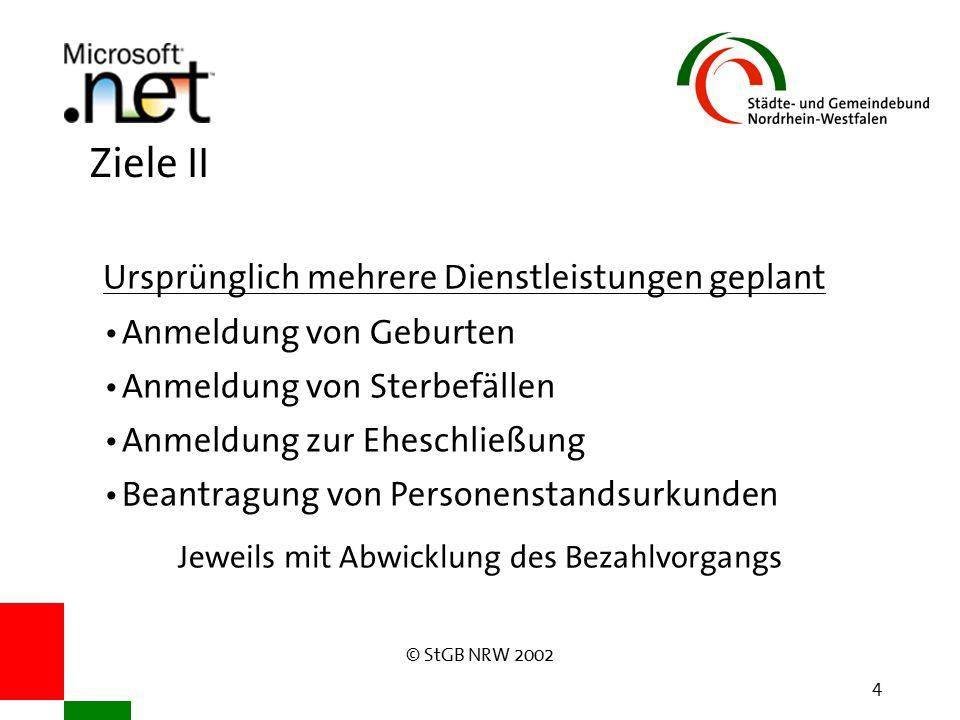 © StGB NRW 2002 4 Ziele II Ursprünglich mehrere Dienstleistungen geplant Anmeldung von Geburten Anmeldung von Sterbefällen Anmeldung zur Eheschließung Beantragung von Personenstandsurkunden Jeweils mit Abwicklung des Bezahlvorgangs