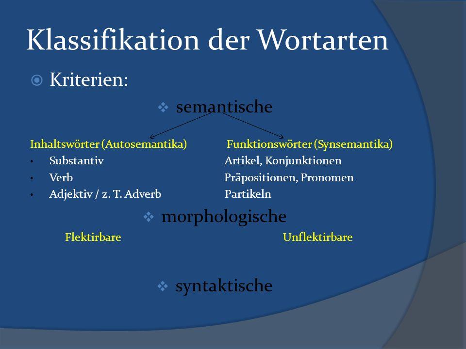 Klassifikation der Wortarten  Kriterien:  semantische Inhaltswörter (Autosemantika) Funktionswörter (Synsemantika) Substantiv Artikel, Konjunktionen Verb Präpositionen, Pronomen Adjektiv / z.