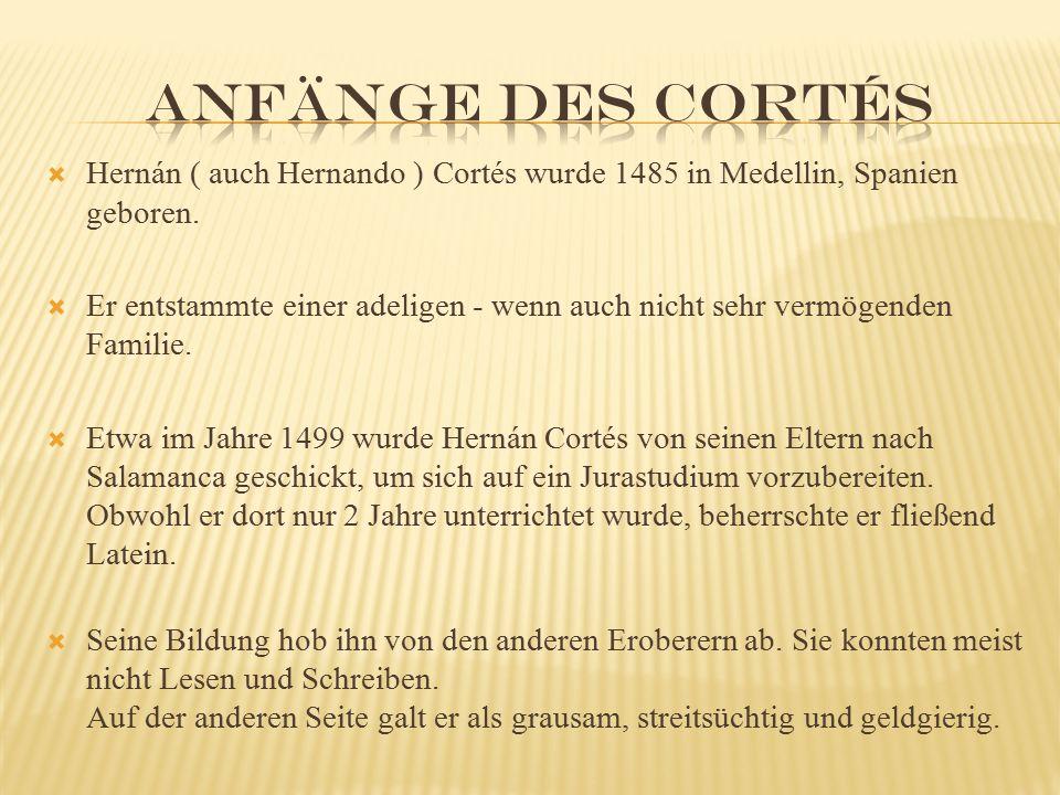  Hernán ( auch Hernando ) Cortés wurde 1485 in Medellin, Spanien geboren.  Er entstammte einer adeligen - wenn auch nicht sehr vermögenden Familie.