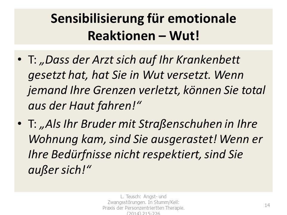 """Sensibilisierung für emotionale Reaktionen – Wut! T: """"Dass der Arzt sich auf Ihr Krankenbett gesetzt hat, hat Sie in Wut versetzt. Wenn jemand Ihre Gr"""
