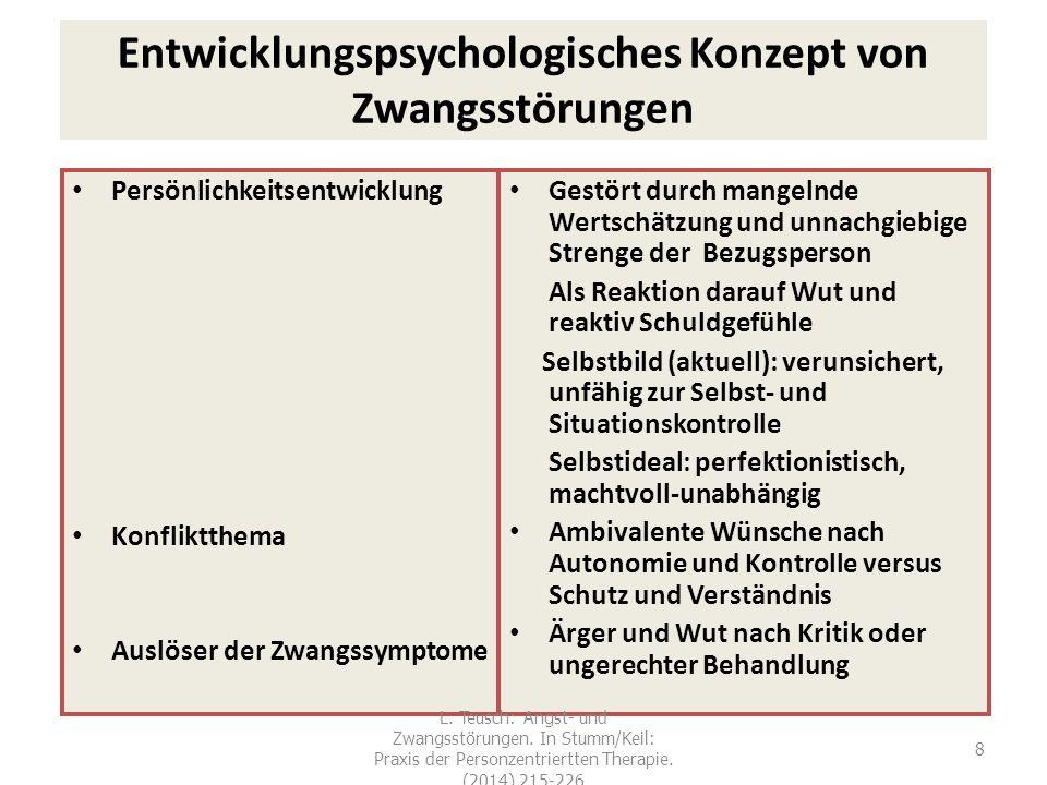 8 Entwicklungspsychologisches Konzept von Zwangsstörungen Persönlichkeitsentwicklung Konfliktthema Auslöser der Zwangssymptome Gestört durch mangelnde