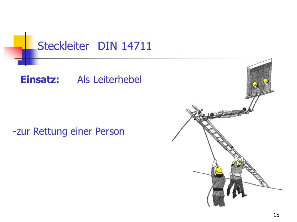 15 Einsatz: Steckleiter DIN 14711 Als Leiterhebel -zur Rettung einer Person