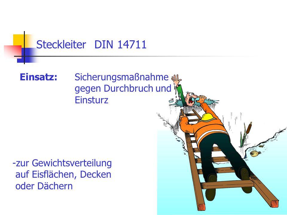 16 Einsatz: Steckleiter DIN 14711 Sicherungsmaßnahme gegen Durchbruch und Einsturz -zur Gewichtsverteilung auf Eisflächen, Decken oder Dächern