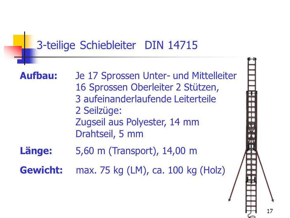 17 Aufbau: 3-teilige Schiebleiter DIN 14715 Je 17 Sprossen Unter- und Mittelleiter 16 Sprossen Oberleiter 2 Stützen, 3 aufeinanderlaufende Leiterteile