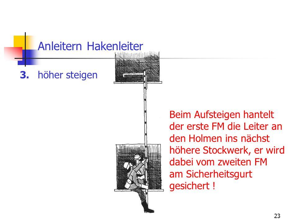 23 Anleitern Hakenleiter höher steigen3. Beim Aufsteigen hantelt der erste FM die Leiter an den Holmen ins nächst höhere Stockwerk, er wird dabei vom