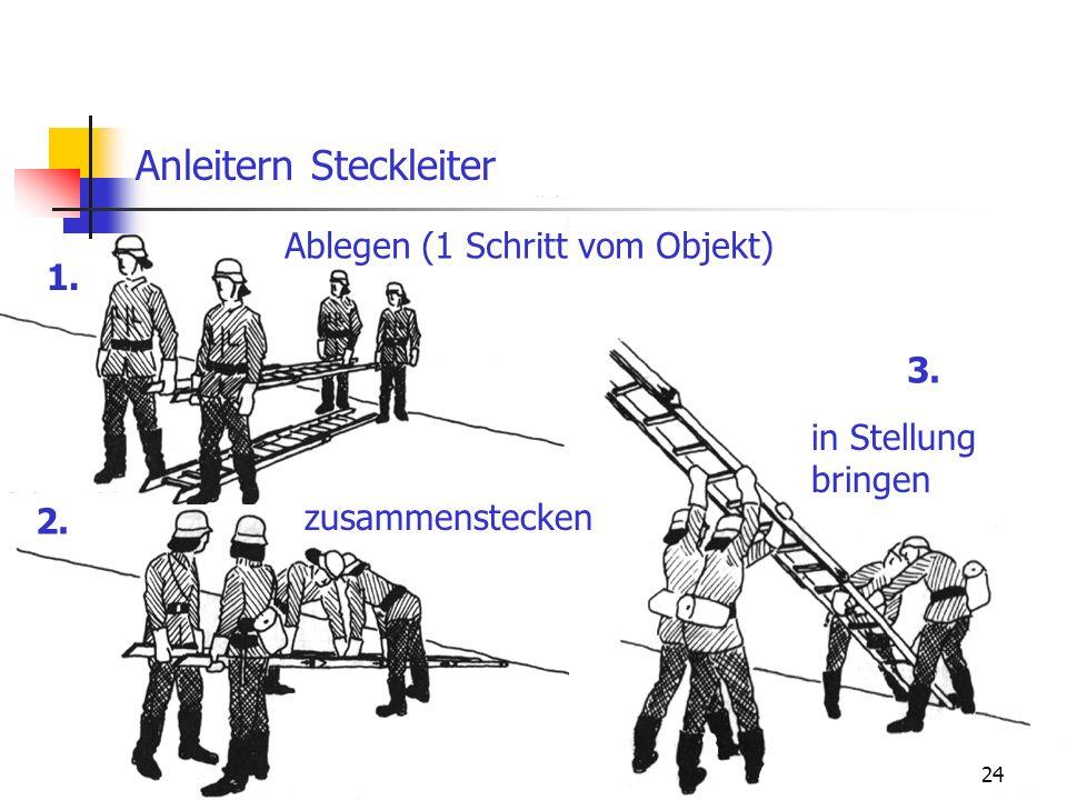 24 Anleitern Steckleiter 1. 2. 3. Ablegen (1 Schritt vom Objekt) zusammenstecken in Stellung bringen