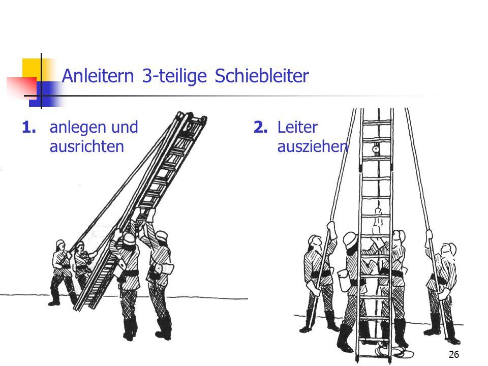 26 Anleitern 3-teilige Schiebleiter 1.2.anlegen und ausrichten Leiter ausziehen