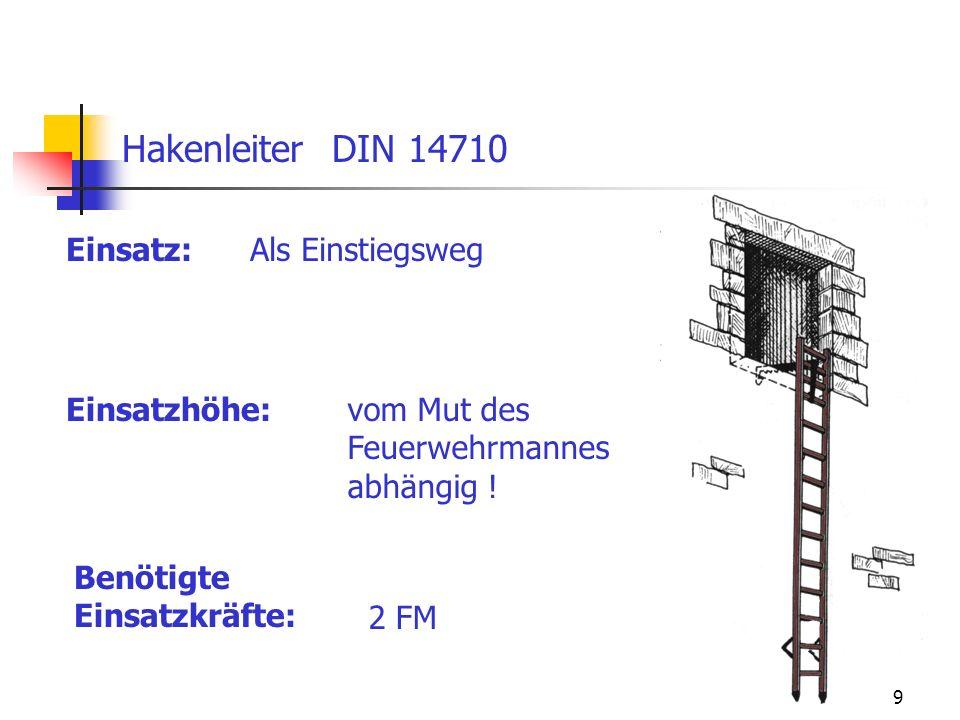 9 Einsatz: Hakenleiter DIN 14710 Als Einstiegsweg Einsatzhöhe:vom Mut des Feuerwehrmannes abhängig ! Benötigte Einsatzkräfte: 2 FM