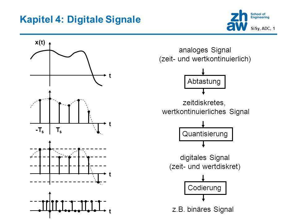 Quantisierungsrauschen SiSy, ADC, 12 Signal-zu-Quantisierungsrauschen SNR in dB in dB Signalleistung Aussteuerbereich Sinus-förmiges Signal mit Vollausteuerung SNR [dB] = 6·W + 1.76 Mit jedem Bit mehr Wortlänge wird das SNR um 6 dB erhöht.
