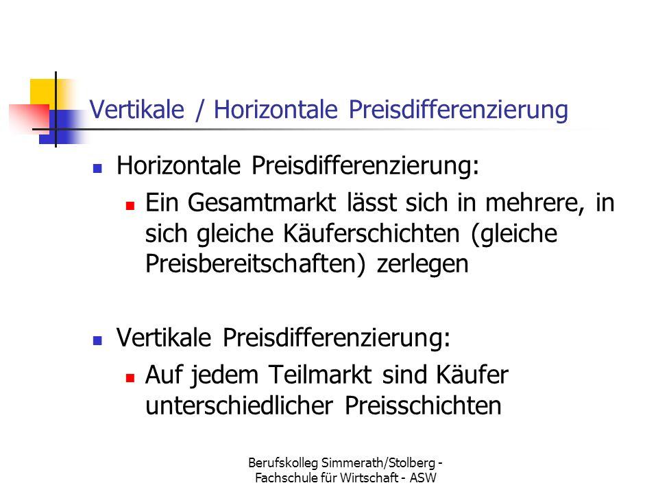 Berufskolleg Simmerath/Stolberg - Fachschule für Wirtschaft - ASW Vertikale / Horizontale Preisdifferenzierung Horizontale Preisdifferenzierung: Ein Gesamtmarkt lässt sich in mehrere, in sich gleiche Käuferschichten (gleiche Preisbereitschaften) zerlegen Vertikale Preisdifferenzierung: Auf jedem Teilmarkt sind Käufer unterschiedlicher Preisschichten