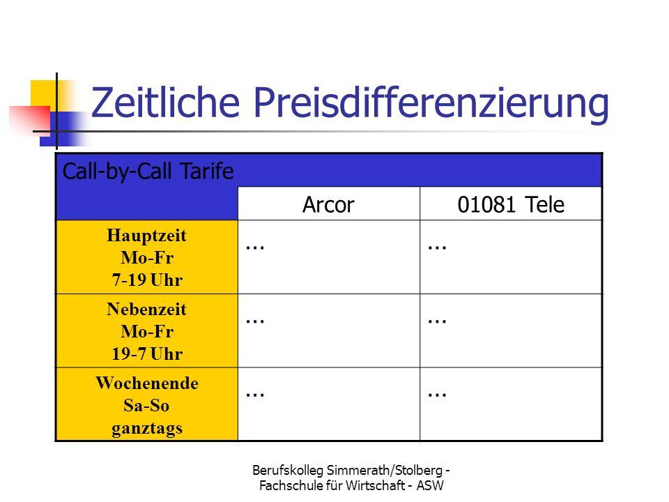 Berufskolleg Simmerath/Stolberg - Fachschule für Wirtschaft - ASW Zeitliche Preisdifferenzierung Call-by-Call Tarife Arcor01081 Tele Hauptzeit Mo-Fr 7-19 Uhr …… Nebenzeit Mo-Fr 19-7 Uhr …… Wochenende Sa-So ganztags ……