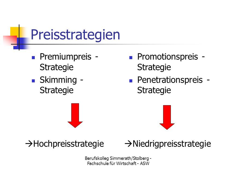 Berufskolleg Simmerath/Stolberg - Fachschule für Wirtschaft - ASW Preisstrategien Premiumpreis - Strategie Skimming - Strategie Promotionspreis - Strategie Penetrationspreis - Strategie  Hochpreisstrategie  Niedrigpreisstrategie