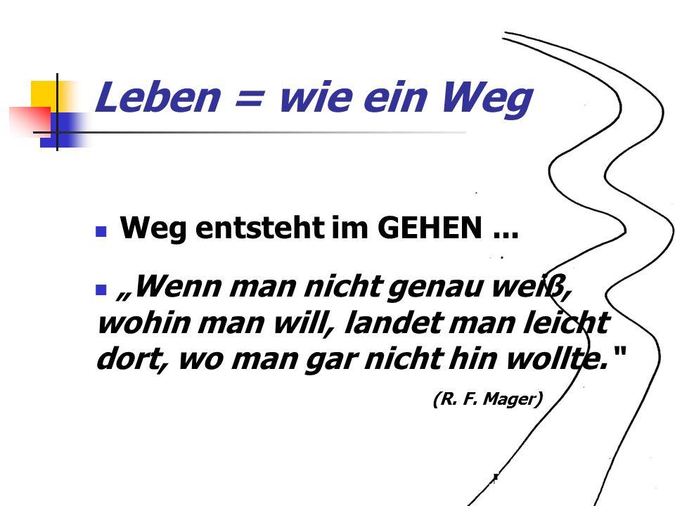 Leben = wie ein Weg Weg entsteht im GEHEN...