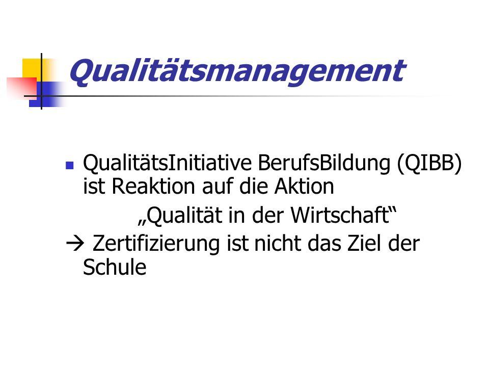 """Qualitätsmanagement QualitätsInitiative BerufsBildung (QIBB) ist Reaktion auf die Aktion """"Qualität in der Wirtschaft  Zertifizierung ist nicht das Ziel der Schule"""