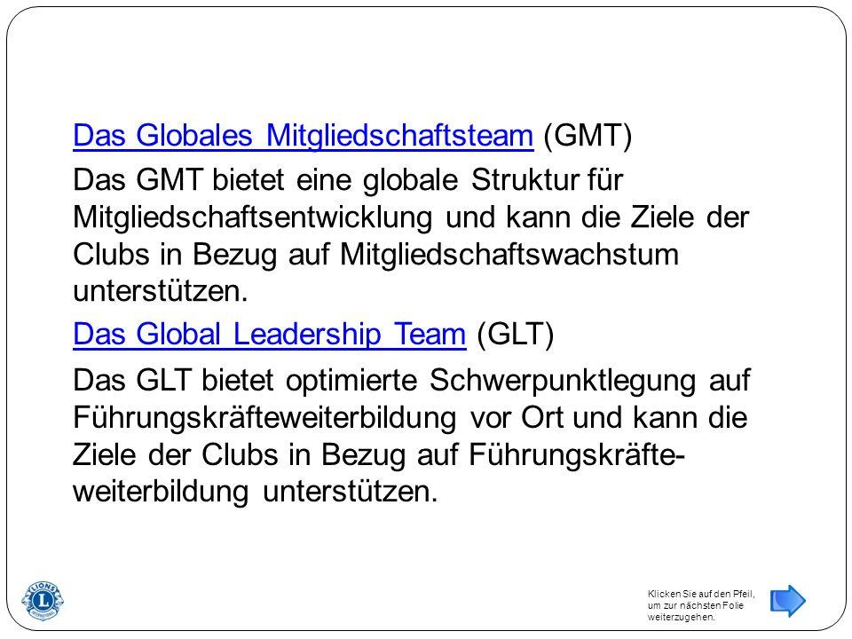 Das Global Leadership Team Das Global Leadership Team (GLT) Das GLT bietet optimierte Schwerpunktlegung auf Führungskräfteweiterbildung vor Ort und kann die Ziele der Clubs in Bezug auf Führungskräfte- weiterbildung unterstützen.