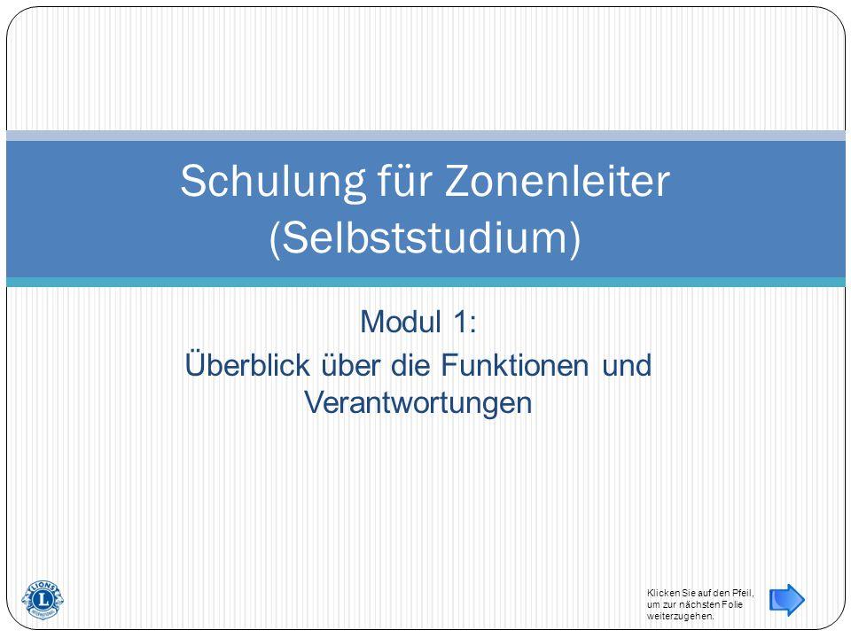 Modul 1: Überblick über die Funktionen und Verantwortungen Schulung für Zonenleiter (Selbststudium) Klicken Sie auf den Pfeil, um zur nächsten Folie weiterzugehen.