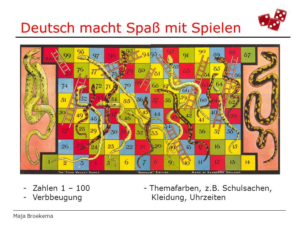 Deutsch macht Spaß mit Spielen Maja Broekema -Zahlen 1 – 100- Themafarben, z.B. Schulsachen, -Verbbeugung Kleidung, Uhrzeiten