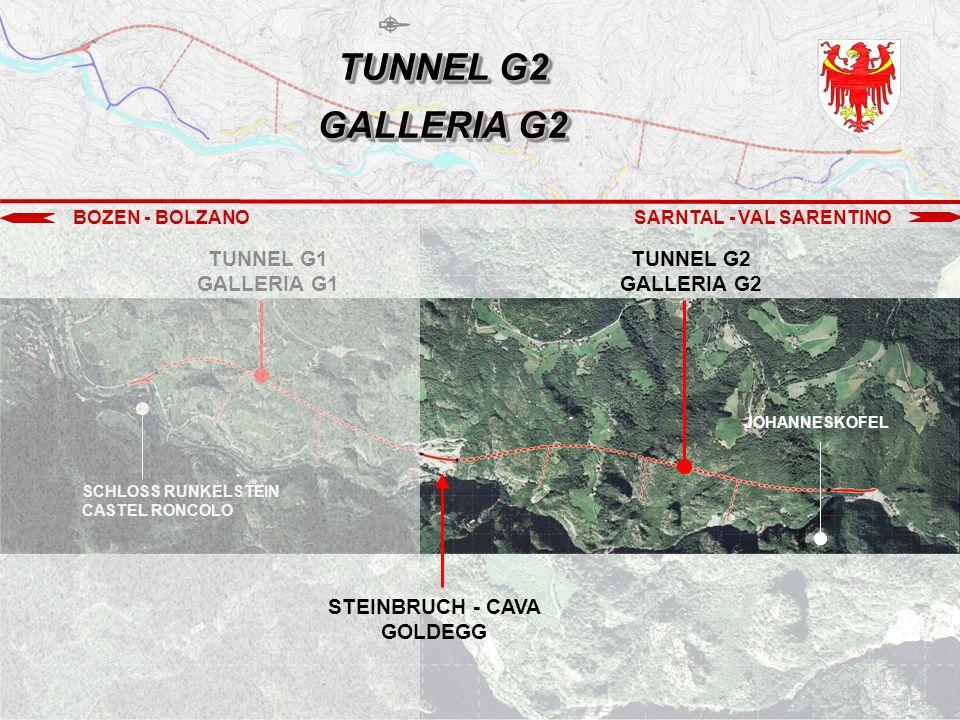 BOZEN - BOLZANOSARNTAL - VAL SARENTINO TUNNEL G1 GALLERIA G1 TUNNEL G2 GALLERIA G2 JOHANNESKOFEL SCHLOSS RUNKELSTEIN CASTEL RONCOLO STEINBRUCH - CAVA GOLDEGG