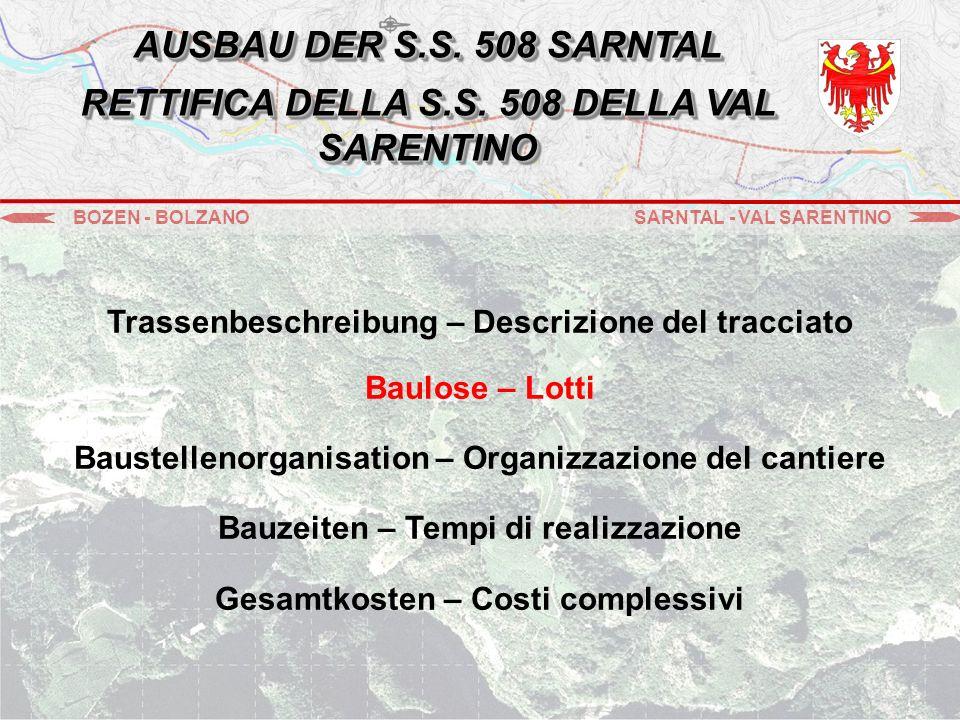 Trassenbeschreibung – Descrizione del tracciato Baulose – Lotti Baustellenorganisation – Organizzazione del cantiere Bauzeiten – Tempi di realizzazione Gesamtkosten – Costi complessivi BOZEN - BOLZANOSARNTAL - VAL SARENTINO AUSBAU DER S.S.