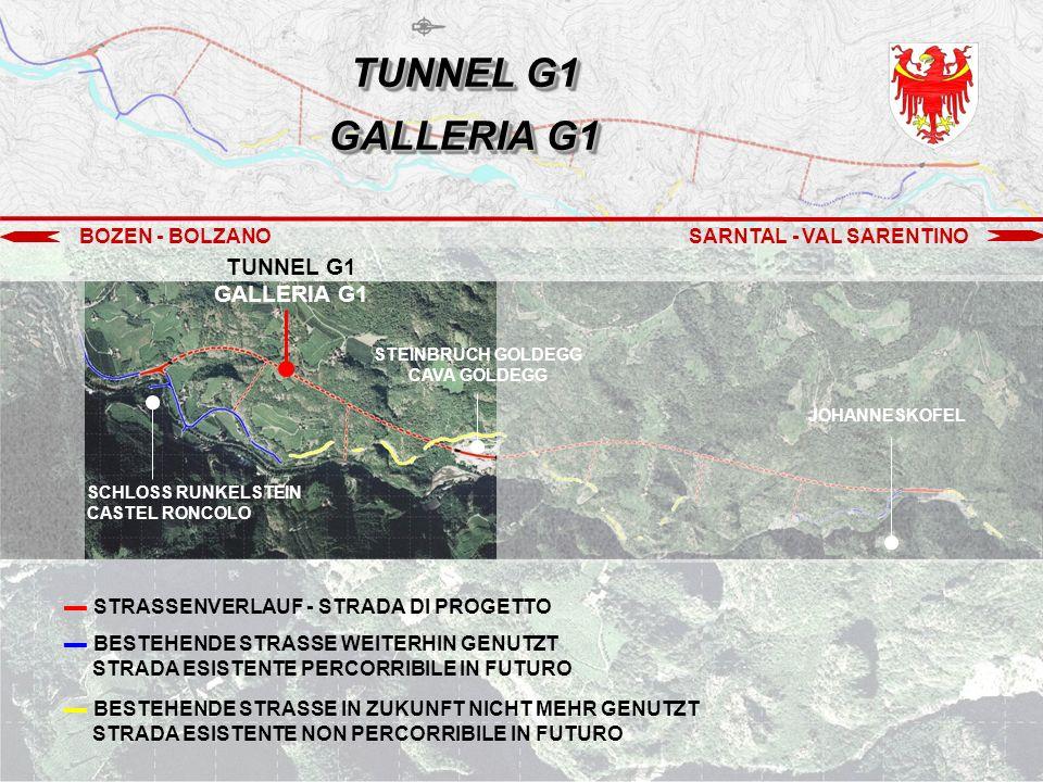 BOZEN - BOLZANOSARNTAL - VAL SARENTINO STEINBRUCH - CAVA GOLDEGG TUNNEL G1 GALLERIA G1 TUNNEL G2 GALLERIA G2 ▬ Vortrieb der Fluchtstollen (Tunnel G1) Scavo delle vie di fuga (Galleria G1) 2.