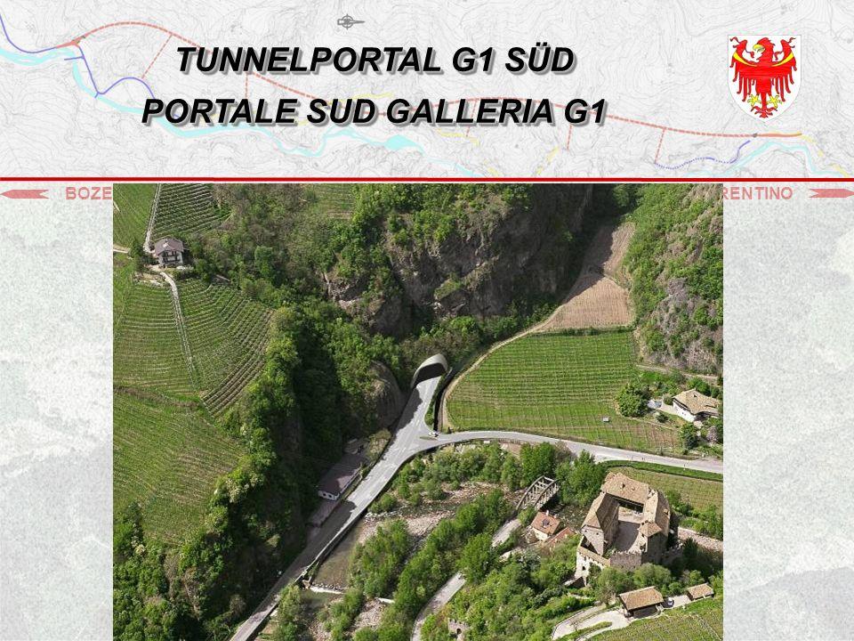 BOZEN - BOLZANOSARNTAL - VAL SARENTINO STEINBRUCH - CAVA GOLDEGG TUNNEL G1 GALLERIA G1 TUNNEL G2 GALLERIA G2 ▬ Vortrieb der Fluchtstollen (Tunnel G2) Scavo delle vie di fuga (Galleria G2) 2.