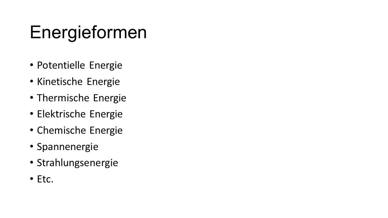 Energieformen Potentielle Energie Kinetische Energie Thermische Energie Elektrische Energie Chemische Energie Spannenergie Strahlungsenergie Etc.