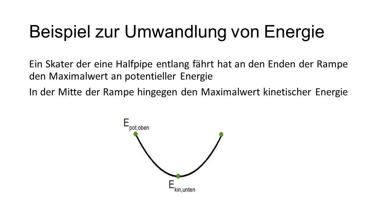Beispiel zur Umwandlung von Energie Ein Skater der eine Halfpipe entlang fährt hat an den Enden der Rampe den Maximalwert an potentieller Energie In d