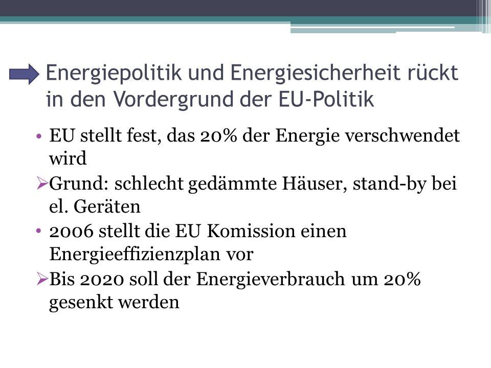 Energiepolitik und Energiesicherheit rückt in den Vordergrund der EU-Politik EU stellt fest, das 20% der Energie verschwendet wird  Grund: schlecht gedämmte Häuser, stand-by bei el.