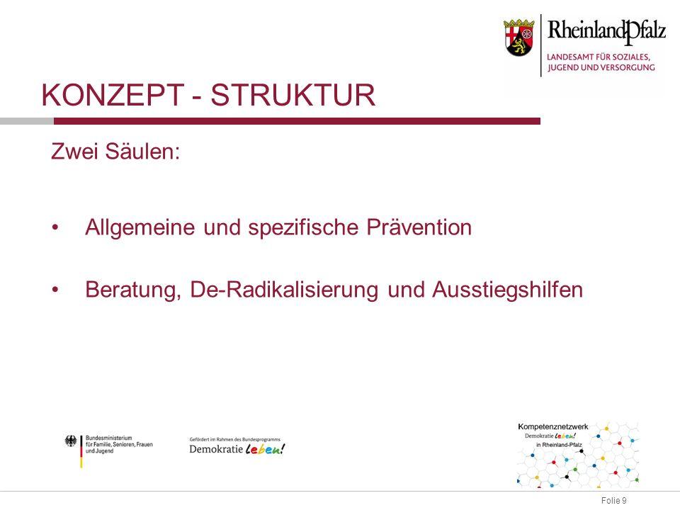 Folie 9 Zwei Säulen: Allgemeine und spezifische Prävention Beratung, De-Radikalisierung und Ausstiegshilfen KONZEPT - STRUKTUR