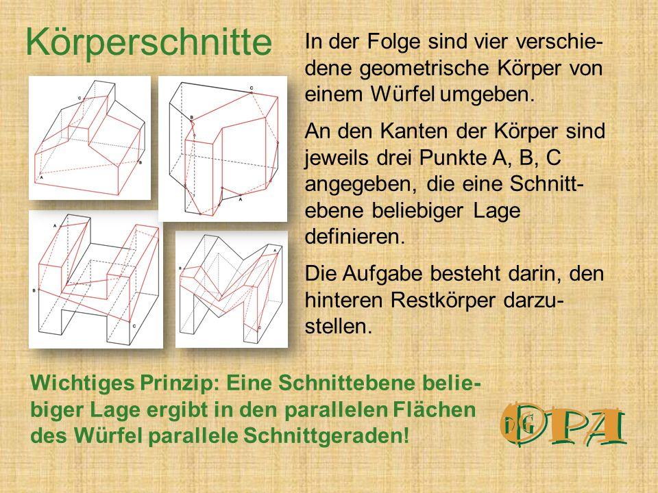 In der Folge sind vier verschie- dene geometrische Körper von einem Würfel umgeben.