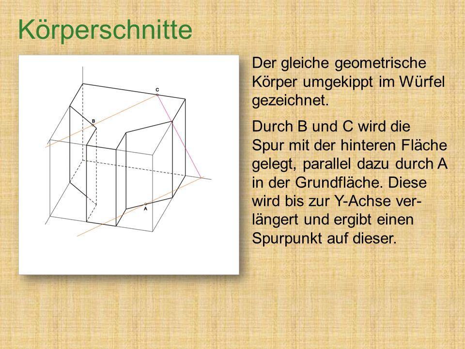 Der gleiche geometrische Körper umgekippt im Würfel gezeichnet.