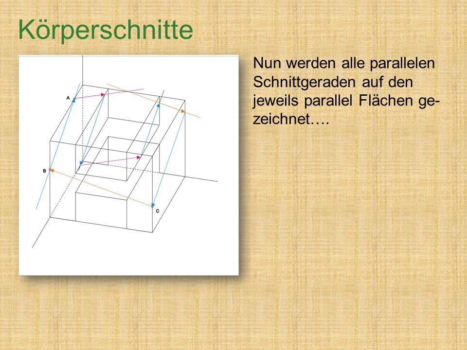 Nun werden alle parallelen Schnittgeraden auf den jeweils parallel Flächen ge- zeichnet….