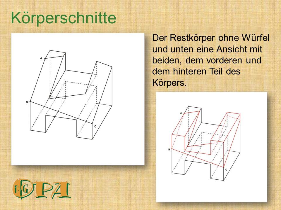 Der Restkörper ohne Würfel und unten eine Ansicht mit beiden, dem vorderen und dem hinteren Teil des Körpers.