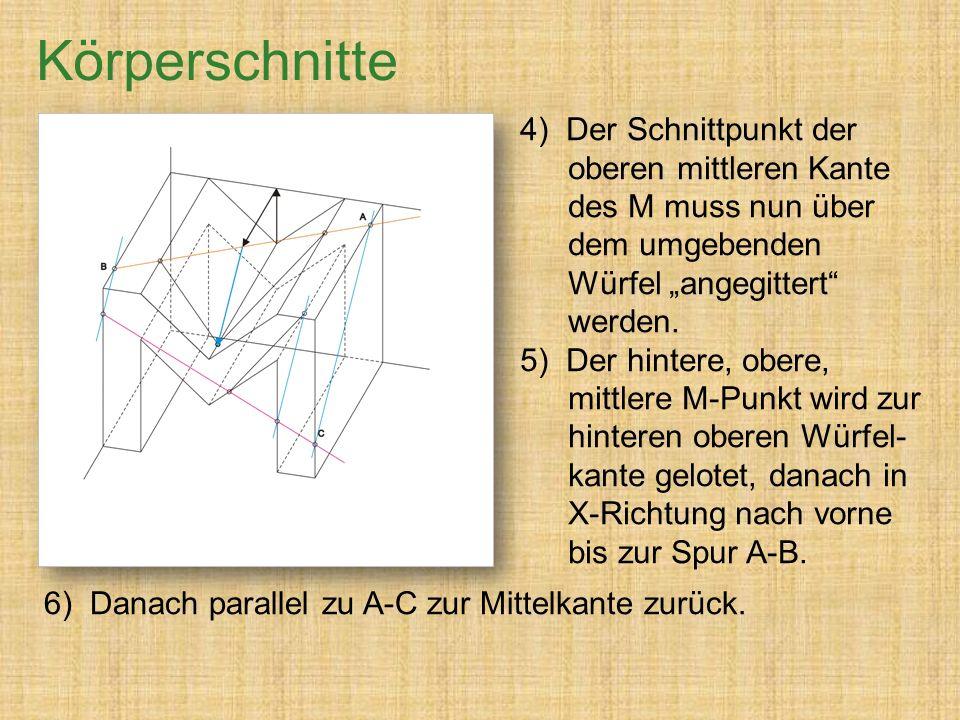 """4) Der Schnittpunkt der oberen mittleren Kante des M muss nun über dem umgebenden Würfel """"angegittert werden."""