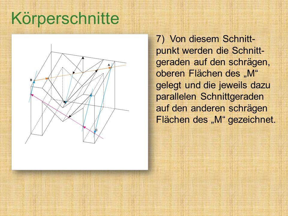 """7) Von diesem Schnitt- punkt werden die Schnitt- geraden auf den schrägen, oberen Flächen des """"M gelegt und die jeweils dazu parallelen Schnittgeraden auf den anderen schrägen Flächen des """"M gezeichnet."""