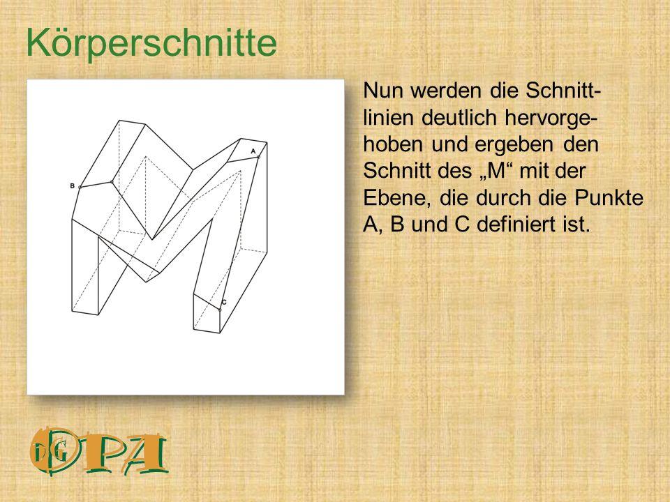 """Nun werden die Schnitt- linien deutlich hervorge- hoben und ergeben den Schnitt des """"M mit der Ebene, die durch die Punkte A, B und C definiert ist."""