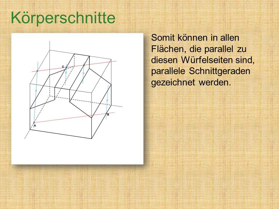 Somit können in allen Flächen, die parallel zu diesen Würfelseiten sind, parallele Schnittgeraden gezeichnet werden.