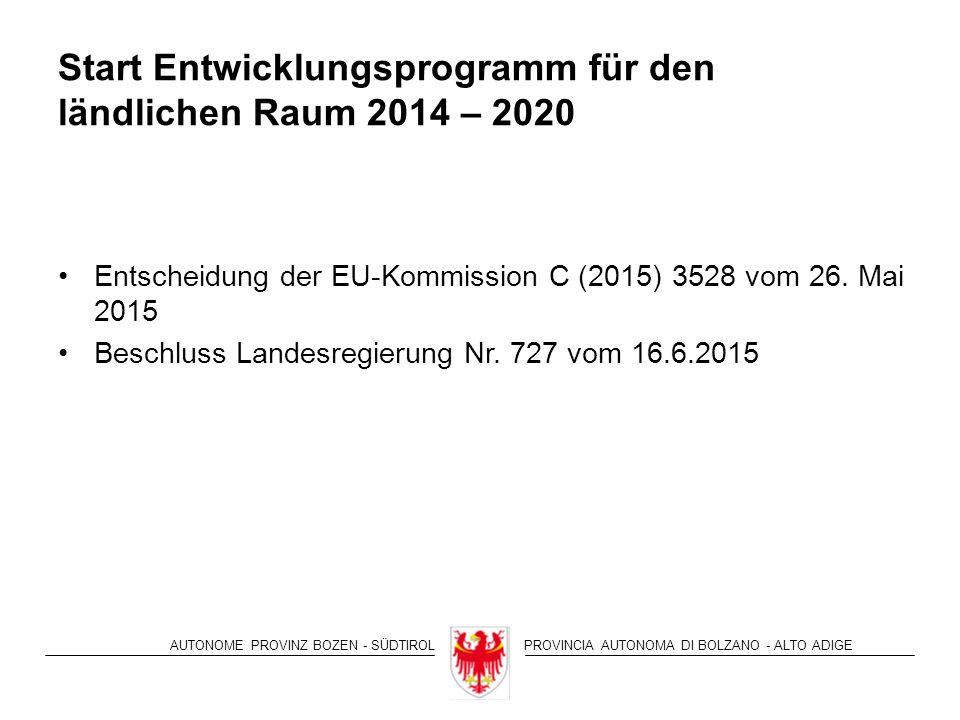 AUTONOME PROVINZ BOZEN - SÜDTIROLPROVINCIA AUTONOMA DI BOLZANO - ALTO ADIGE Start Entwicklungsprogramm für den ländlichen Raum 2014 – 2020 Entscheidung der EU-Kommission C (2015) 3528 vom 26.