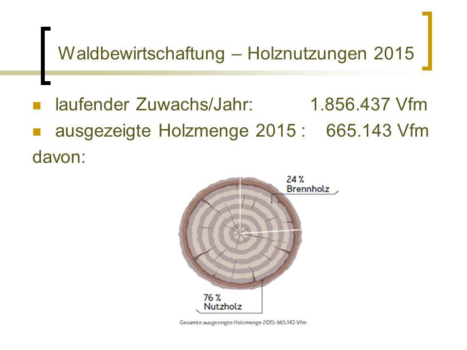 Waldbewirtschaftung – Holznutzungen 2015 laufender Zuwachs/Jahr: 1.856.437 Vfm ausgezeigte Holzmenge 2015 : 665.143 Vfm davon: