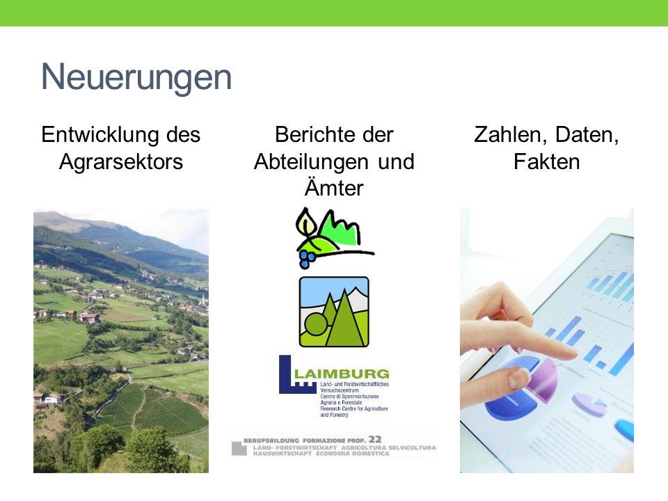 Entwicklung des Agrarsektors Berichte der Abteilungen und Ämter Zahlen, Daten, Fakten