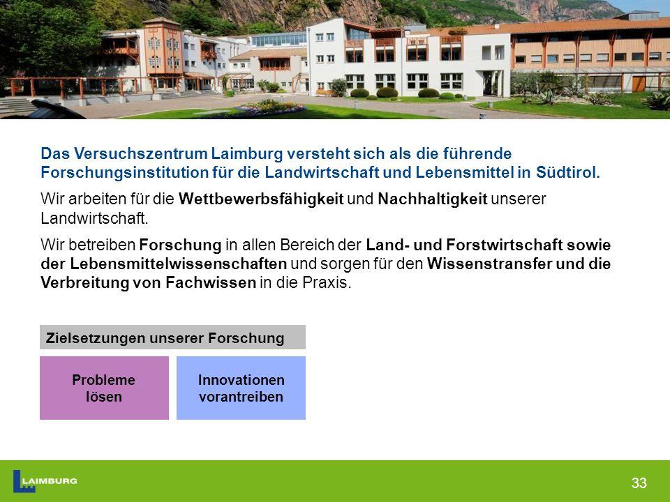 33 Das Versuchszentrum Laimburg versteht sich als die führende Forschungsinstitution für die Landwirtschaft und Lebensmittel in Südtirol.