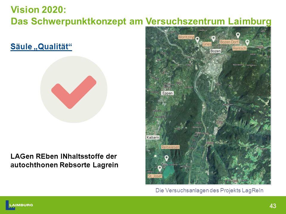 """43 Säule """"Qualität LAGen REben INhaltsstoffe der autochthonen Rebsorte Lagrein Die Versuchsanlagen des Projekts LagReIn Vision 2020: Das Schwerpunktkonzept am Versuchszentrum Laimburg"""